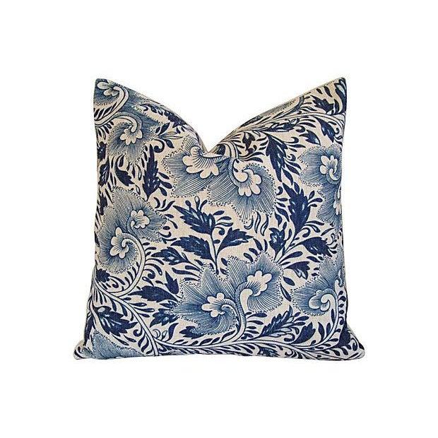 Image of Custom Indigo Blue Floral Linen Pillows - Pair