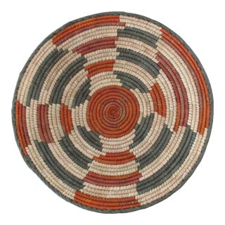 Native American Style Rust & Gray Line Pattern Basket