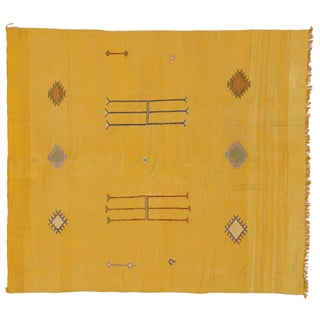 "Vintage Moroccan Silk Kilim Rug - 5'9"" x 6'5"""