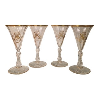Antique Baccarat Crystal Monogrammed Cocktail or Port Wine Stems - Set of 4