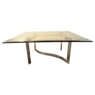Milo Baughman Style Glass and Chrome Table