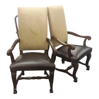 Century Furniture Arm Chairs, Leather Seat, Velvet & Burlap Back - A Pair