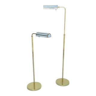 1970s Adjustable Brass Floor Lamps - A Pair