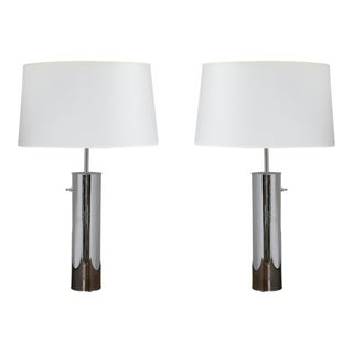 Nessen Vintage Tall Chrome Tube Lamps - A Pair