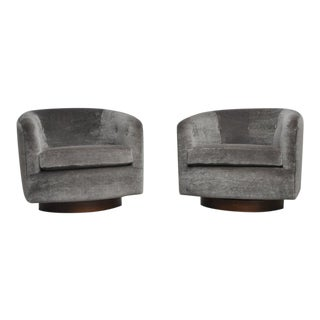 Milo Baughman Swivel Chairs on Walnut Bases in Ultra Plush Mohair