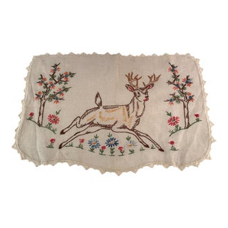 Vintage Embroidered Deer Design Dresser Scarf