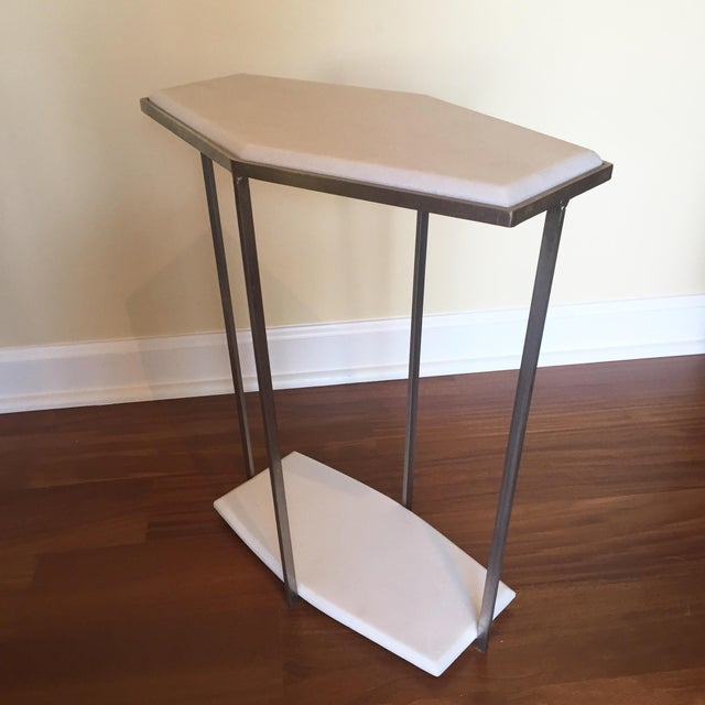 geometric white marble accent table chairish. Black Bedroom Furniture Sets. Home Design Ideas