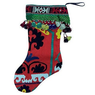 Antique Suzani Tassel Christmas Stocking