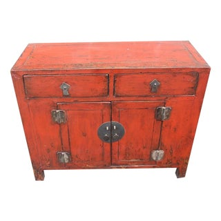 Antique Red Lacquer Entry Table