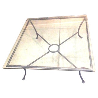 Vintage Crate & Barrel Coffee Table W Glass Top