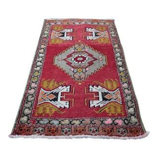 Vintage Turkish Red Handmade Rug - 1′9″ × 3′