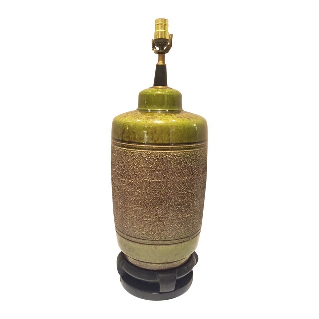 Vintage Green Glazed Lamp - Image 1 of 6