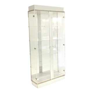 Lucite and Chrome Lighted Curio Display Cabinet