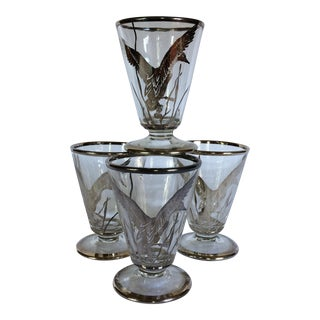 Vintage Silver & Crystal Geese Port Glasses - Set of 4
