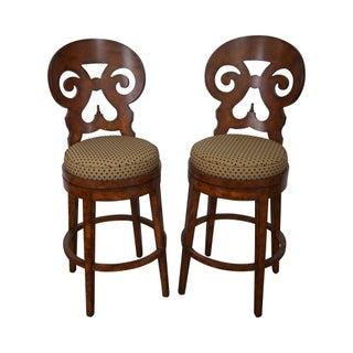 Biedermeier Style Swivel Bar Stools - A Pair
