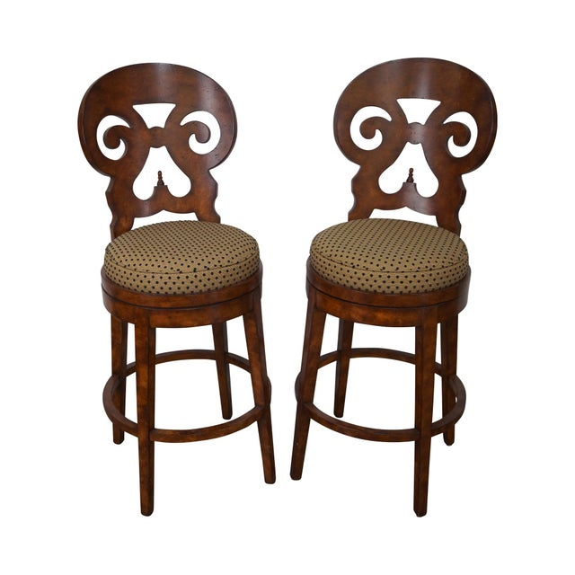 Biedermeier Style Swivel Bar Stools - A Pair - Image 1 of 10