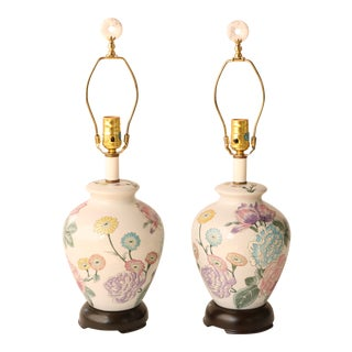 Floral Ginger Jar Table Lamps, A Pair