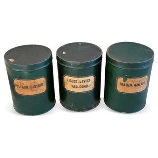 Antique Apothecary Herbalist Tins - Set of Three