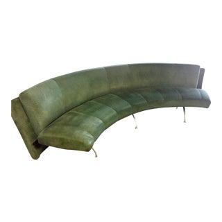 1990 Moroso Italia Postmodern Hunter Green Suede Curved Sofa