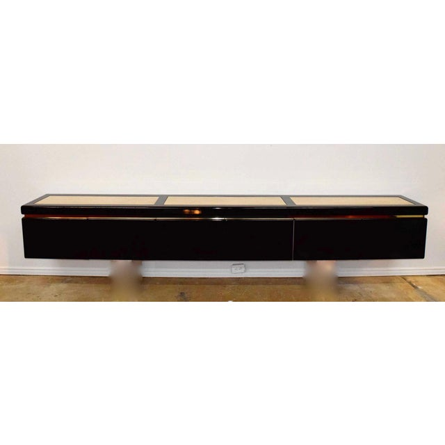 Very Large Custom Wall Hung Console in Black Lacquer and Travertine - Image 4 of 8