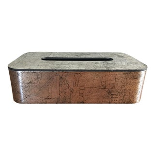 Mid-Century Silver Metallic Tissue Box Holder