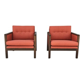 Vintage Walnut Lounge Chairs - A Pair