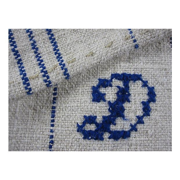 Image of Hand-Spun, Embroidered French Blue Tea Towels - 6