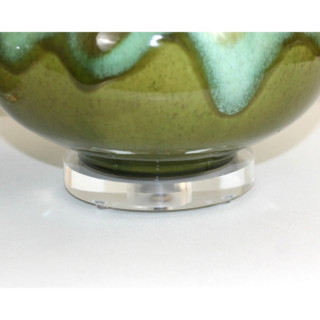 Mid-Century Restored Green Pottery Lamps - Pair - Image 3 of 9