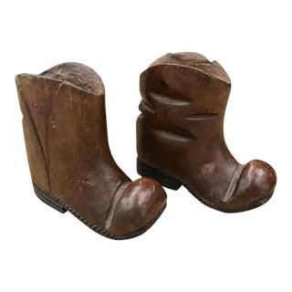 Pair, Mid Century Wood Boot Statues, Figurines
