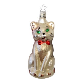 Hand Painted Old World White Glass Cat Christmas Ornament