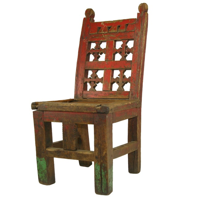 Red Antique Primitive Hand-Carved Chair - Image 1 of 5