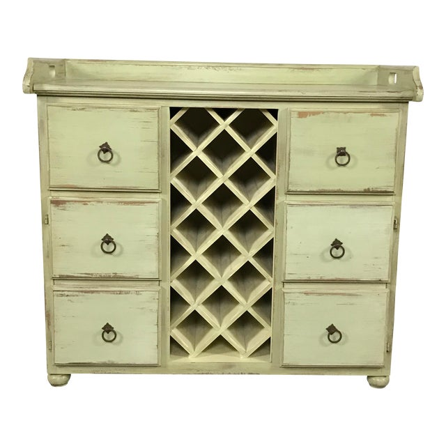 Crate & Barrel Rustic Wine Rack Cabinet - Image 1 of 11