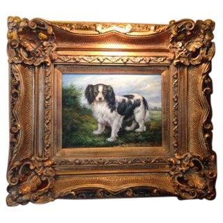 Oil Portrait King Charles Spaniel With Gold Frame