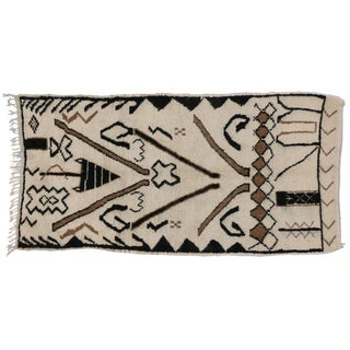 Berber Moroccan Rug with Modern Tribal Design, 4'9x9'1