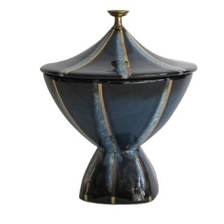 Navy & Gold Lidded Candy Dish