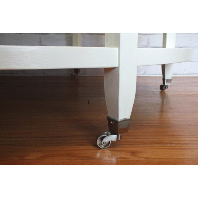 Mid-Century Round White Caned Coffee Table - Image 9 of 11