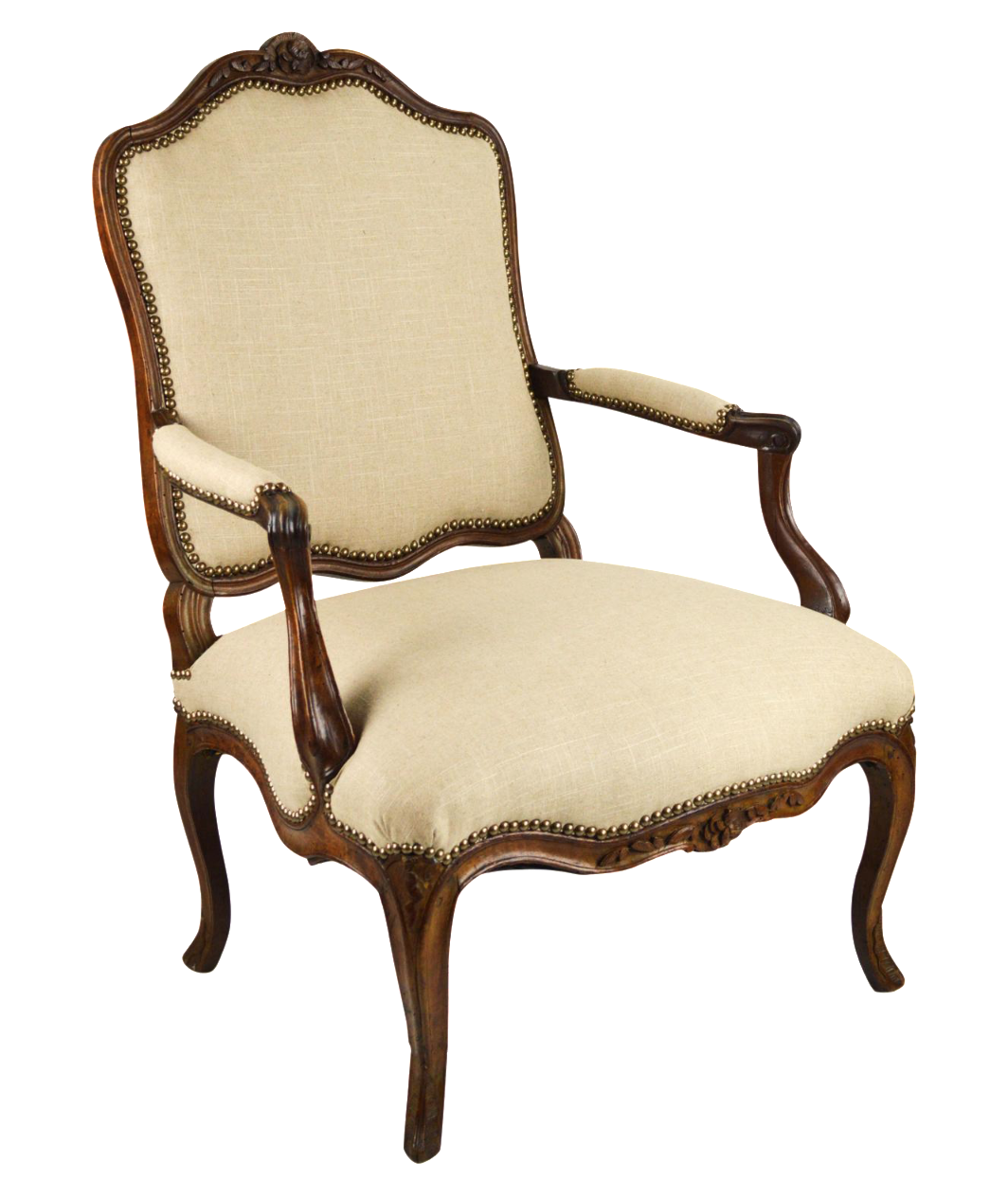 louis xv style linen fauteuil chair chairish