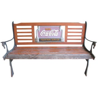 Vintage Style Wrought Iron & Wood Coca-Cola Bench