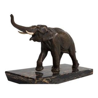 An Art Deco Bronze Elephant Sculpture on Marble Mount 1930s