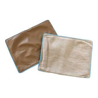 Jonathan Adler Leather/ Linen Pillows - Set of 2