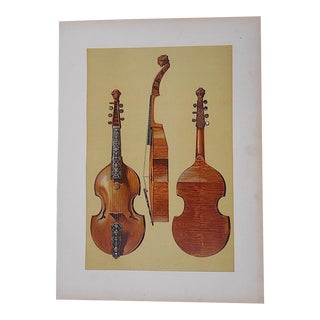 Antique Lithograph of Musical Instruments, Viola
