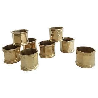 Hexagonal Brass Napkin Rings - Set of 8