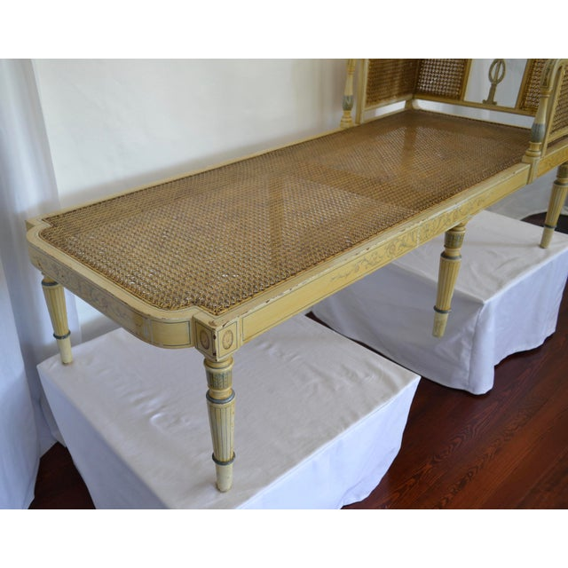 Antique Adams Painted Neoclassical Caned Chaise - Image 9 of 11
