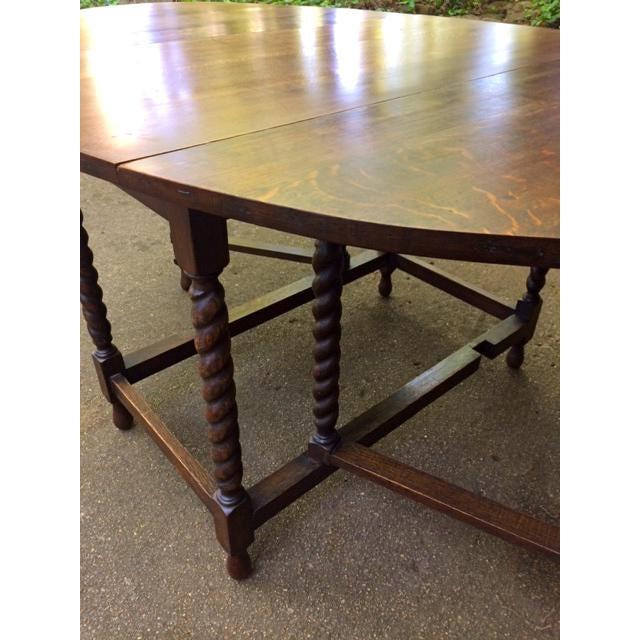 Antique Oak Drop Leaf Table - Image 3 of 6