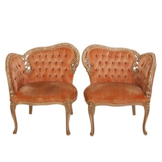 19th Century French Coral Velvet Tufted Side Chairs - A Pair