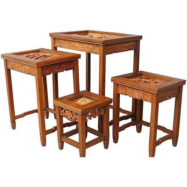 Antique carved asian nesting tables set of chairish