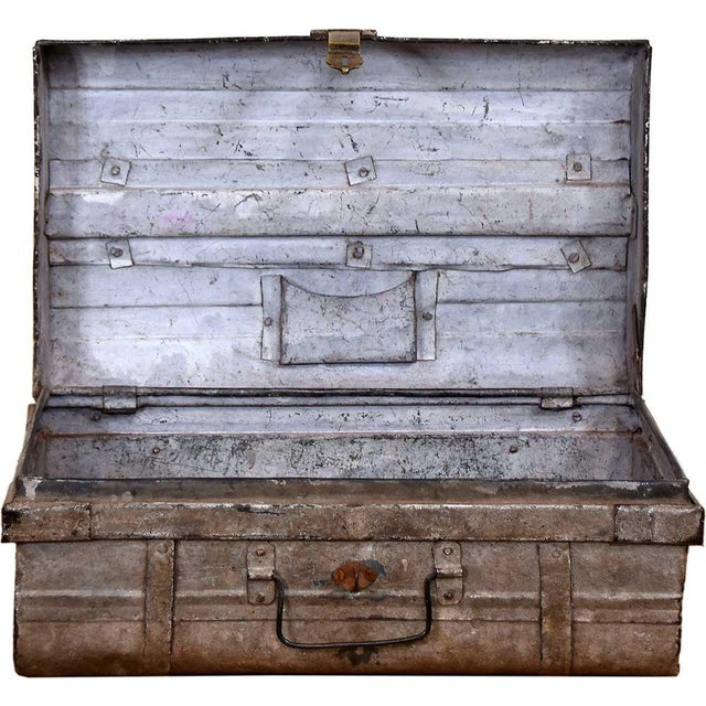1950s Blushed Gray Iron Traveler's Trunk - Image 4 of 5