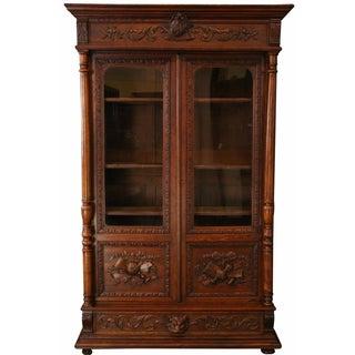 Antique French Renaissance-Style Lion Bookcase