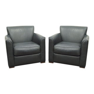 Martin Brattrud Augusta Green Leather Lounge Club Chairs - a Pair