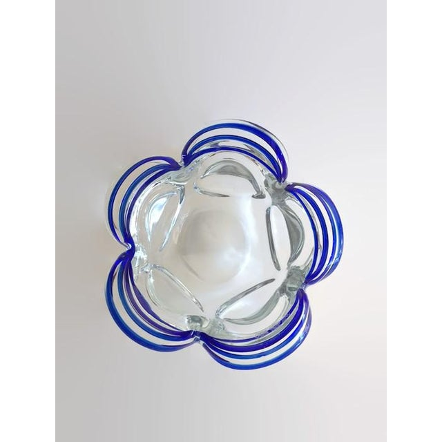 Vintage Murano Style Petal Bowl Blue Striped - Image 3 of 6